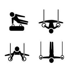 Set of gymnastic icons in silhouette style vector