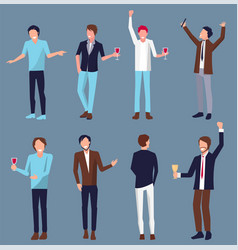 set of men icons partying vector image vector image
