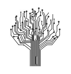 silhouette circuit board tree background vector image