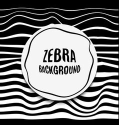 Striped background glitch black white zebra skin vector