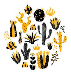 yellow circle cactus vector image vector image