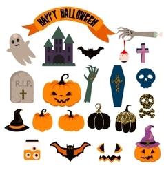 Halloween clipart set Spooky pumpkin icons vector image