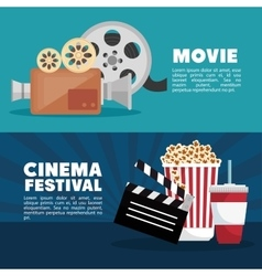 Movie cinema festival banner info design vector