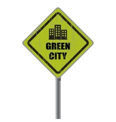 Green city road sign vector image