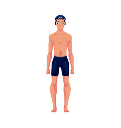 handsome young man swimmer in swimming suit cap vector image