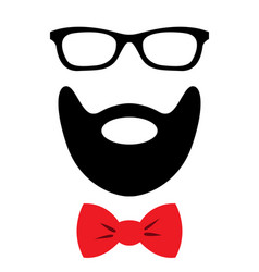 Party accessories set - glasses mustache bow vector