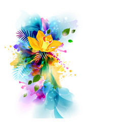 bright background with yellow orchid flowers on vector image