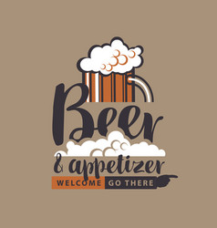 Banner with glass of beer pointer and inscription vector