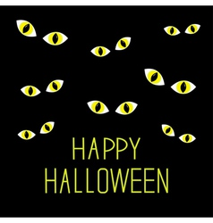 Many cat eyes in dark night happy halloween card vector