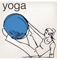 Pilates of woman stability ball gym fitness yoga vector