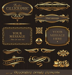 golden decorative design elements vector image