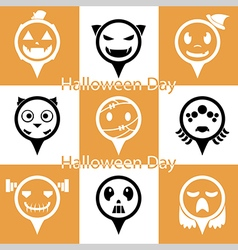 Set of flat halloween icons vector