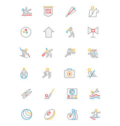 Sports colored outline icons 7 vector