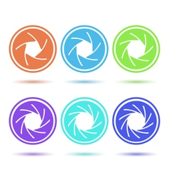 Colored aperture disc icon set vector