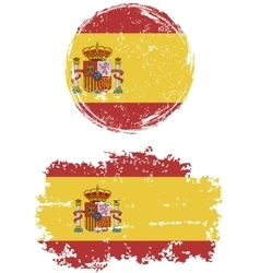 Spanish round and square grunge flags vector