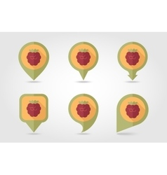 Raspberry mapping pins icons vector