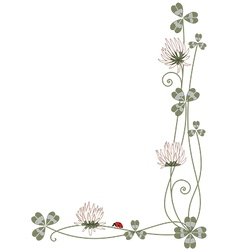 Border with clover and ladybird vector
