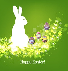 Happy easter eggs with fresh green leaves and vector image