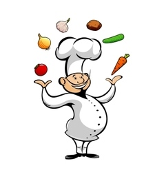 Cartoon chef juggling fresh vegetables vector