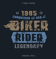 Biker badge with texture vector
