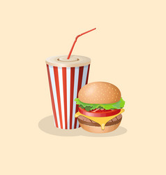 Burger and soda in a paper cup vector