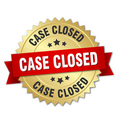 Case closed 3d gold badge with red ribbon vector