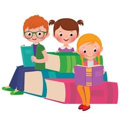Children reading books vector image