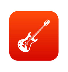 Classical electric guitar icon digital red vector