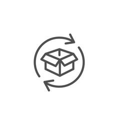 Exchange of goods line icon return parcel sign vector