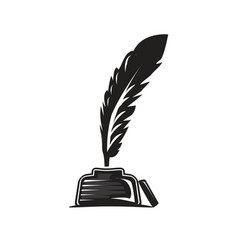 Feather in pot icon vector