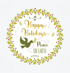 green and golden happy holidays peace on earth vector image vector image