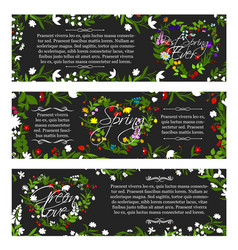 Greeting banners of spring season flowers vector