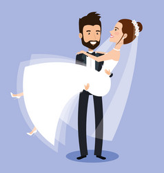 groom carrying bride holding her in his arms love vector image