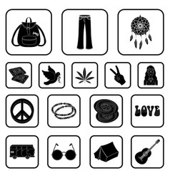 Happy and attribute black icons in set collection vector