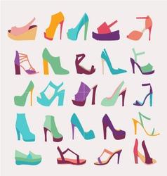 High Heels Women Shoes Set - vector image
