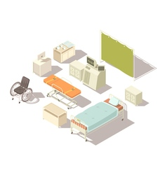 Isometric elements of hospital interior vector