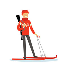 male biathlete skier character active sport vector image