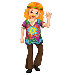 Man in colorful shirt waving hand vector