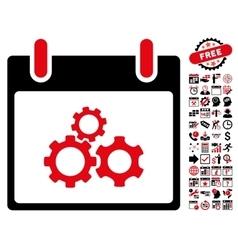 Mechanics gears calendar day flat icon with vector