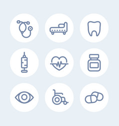 medical icons set in line style over white vector image vector image