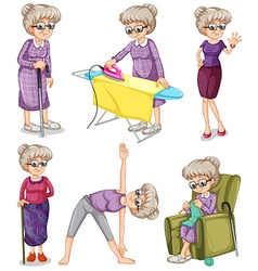 Old woman in different actions vector image vector image