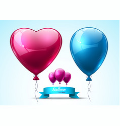 Pink and blue balloons realistic heart vector