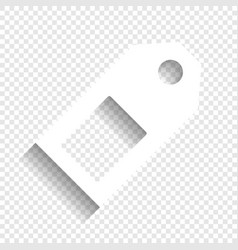 Price tag sign white icon with soft vector