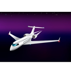 private plane flying at the nighteps 10 vector image vector image