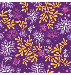 Purple and gold underwater plants seamless pattern vector image