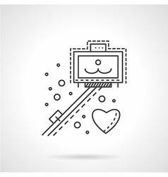 Selfie stick line icon vector