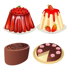 Set dessert jelly with cherry and strawberries cak vector