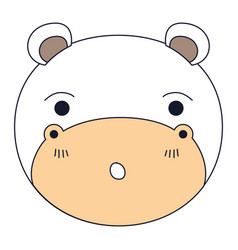 Silhouette color sections of cute face of hippo vector