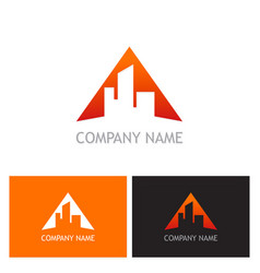 triangle building logo vector image