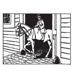 Woman riding horse vintage vector